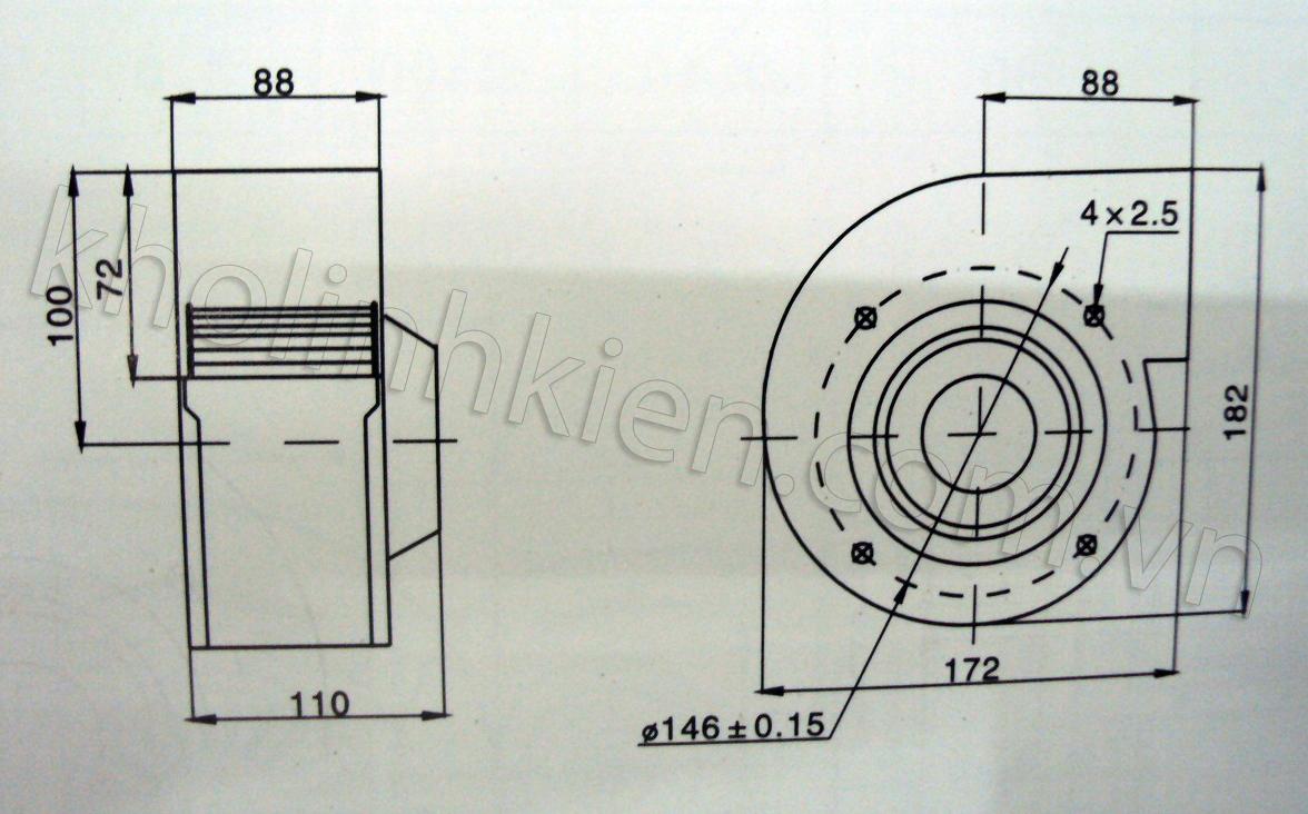 Kích thước quạt sên mini 220V/120W